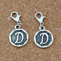 """50pcs / lots Antique Silver Alphabet Initial Disque """"D"""" homard flottant Fermoirs Charm Perles Fit Charm Bracelet DIY Bijoux A-403b"""