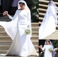 Meghan Mariage blanc Robes de mariée Bateau 3/4 manches longues balayer Simple Jardin Chapelle Robes de mariée Vestido de Novia Mer Robe Mer