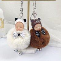10pcs / Lot Schlafen Baby Schlüsselanhänger Damen Tasche Dekorationen Plüsch-Puppe mit Bogen-Key-Ring-Partei-Bevorzugungen für Mädchen Fashion Jewelry