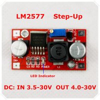 Freeshipping LM2577 DC-DC Verstelbare Step-Up Voedingsmodule Boost Voltage Converter LED-indicator [10 Stuk / partij]