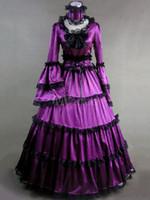 Robes de mariée gothiques pourpres médiévale victorienne 18ème costume mascarade à manches longues robes de soirée de mariage pleine longueur robe de réception