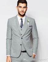 New Light Grey 3 tuta Tute smoking dello sposo sposo Groomsmen giacca sportiva degli uomini Wedding di feste Prom (Jacket + Pants + vest)