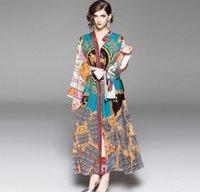 Outono saia longa com decote em V palácio retro sistema de impressão largura de banda vestido solto camisola feminina