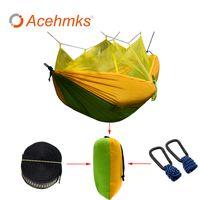 Acehmks Ultra Parachute Hammock Jagd Moskitonetz Hamac Reisen Doppel Person Hamak für Camping Outdoor-Möbel Hängematte