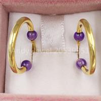 Bear Jewelry 925 orecchini in argento sterling 925 piccoli orecchini Batala in oro vermeil con ametista adatti regalo di stile europeo di gioielli 918543560