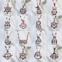 36 Designs Colliers femmes Nouvelle marque Couronne de coeur clés de verrouillage animal Pendentif chaîne Choker filles mode strass titane Cadeaux bijoux en acier