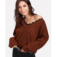 Manches Kniter Casual Luxury Femmes Pull femme Pulls Designer Fashion V Neck Lace Piping long