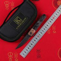 Kanedeiia Mini Kwaiken Flipper Messer N690 Klinge Titan Kupfer / Marmor CF Griff Camping Jagd Küche Obst Messer EDC-Tools