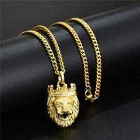 Мужская мода Позолоченные Голова льва ожерелье хип-хоп ювелирных изделий Дизайн 60см Long Link Chain Punk Punk Ожерелье для мужчин Подарок