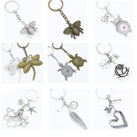 seafish octopus 거북이 심장 꿀벌 잠자리 장미 꽃 올빼미 깃털 열쇠 고리 펜던트 열쇠 고리 열쇠 고리 선물 펜던트 열쇠 고리