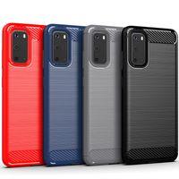 Carbon Fiber escovado Textura protetora TPU para Samsung S20 Plus Ultra A01 A11 A21 A41 A51 A71 A81 A91 M40S A70E MOTO G8 E7 Borda +