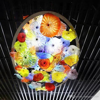 이탈리아 고품질 펜던트 램프 현대 크리스탈 LED 샹들리에 천장 조명 무라노 유리 플레이트 꽃 색깔 샹들리에