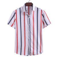Camisa KISSQIQI Hombres rayas de manga corta de moda creativa de apertura de cama cuello camisa floja de verano Superior Masculina Máximo tamaño asiático M-3XL