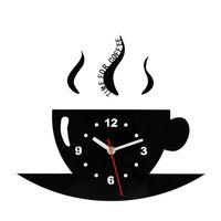 Kaffeetasse Wanduhr Spiegel Bardian Uhr Schmücken Einseitig Rund Wohnzimmer Küche Liefert Metall Pointer Kreative 19ksC1