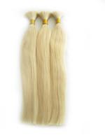 Blond Peruvian Hair Bulk Straight Hair Extensions 613 Human Braiding Bulk Ingen Weft, Gratis frakt