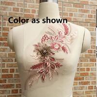 36CM * 16cm 3D 꽃 수 놓은 개념 Appliques 수제 웨딩 드레스 장식 유럽 레이스 트림 DIY 재봉예 LP006