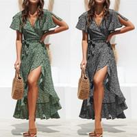 Marka Tasarımcısı Moda Yaz Elbise Boho Tarzı Çiçek Baskı Maxi Plaj Elbise Seksi Yan Bölünmüş Zarif Parti Elbise Sundress Vestidos