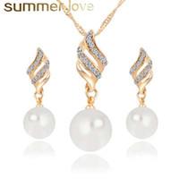 High Fashion Spirale Perle Anhänger Baumeln Earing Halskette Set für Frauen Elegante Einstellbare Strass Gold Silber Überzug Schmuck Set