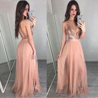 Sexy Rose Gold Vestidos de dama de honor 2019 Profundo en v-cuello rosa tul vestido de baile largo de espalda lentejuelas dama de honor vestido de fiesta