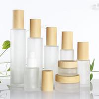 30ml / 40ml / 60ml / 80ml / 100ml Mattglas kosmetische Creme-Glas-Flasche, Gesichtscreme Topf, Foundation Essence Lotion Pumpen-Flasche Imitation Bambus Lids