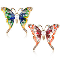 Colorful Enamel Butterfly Brooches Gold Plated Rhinestone Pe...