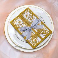 Glitter élégant Gold Gold Laser Coupe Eiffel Tower Cartes d'invitation de mariage Cartes de voeux avec ruban et enveloppe