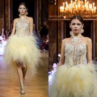 Gul Kort Prom Klänningar Halter Lace Applique Ruffles Mini Evening Gowns Plus Storlek Formell Party Bridesmiad Gowns Robes de Soirée