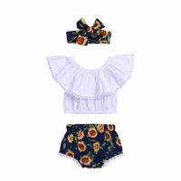 여름 3pcs 세트 아기 소녀 옷 tassels 오프 어깨 탱크 탑 + 꽃 바지 반바지 bloomers + 머리띠 장미 해바라기 의상