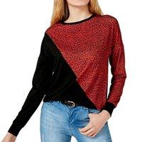 3colors Femmes Casual manches longues Printemps Automne Leopard T-shirt Top T-shirts dames Brochage imprimé léopard T-shirt en vrac