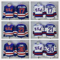 Vintage 1980 ABD Buz Hokeyi 21 Mike Eruzione Jersey Erkek Koleji 17 Jak Ocallahan 30 Jim Craig Dikişli Takım Renk Dışarıda Mavi Beyaz