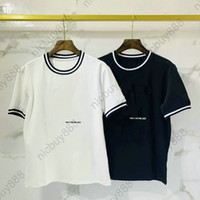 Yaz tasarımcı lüks rahat pamuklu kısa kollu tişört üst t shirt tshirt tshirt klasik çizgili boyun nakış harfi tişört giysi mens