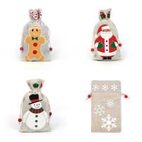 Sacchetto del regalo di Natale con coulisse Candy Bag di Santa fiocco di neve pupazzo di neve di Natale della tela da festa di compleanno della decorazione di Natale 4 stili XD22250