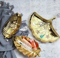 Nordic en céramique or petite feuille plateau de rangement bijoux plaque accessoires de tir plateau anneau plaque plateau de stockage salle