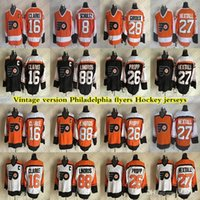 Veladelphia Flyers Fellers Vintage Version 28 Giroux 16 Clarke 88 Lindros 27 Hextall 26 Propp Hockey Jersey