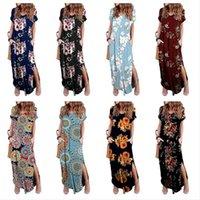 Las mujeres de la impresión floral de la manga vestido corto V-cuello Vestidos Maxi vestidos Boho del verano de Split de una pieza de la falda del verano de la playa del vestido largo Ropa de DHL