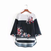 3d33701349d Wholesale summer smock tops for sale - Flower Patchwork Printing Smock  Women Shirt Female Three Quarter