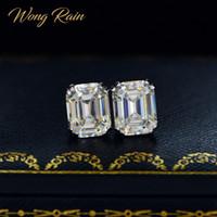 وونغ المطر كلاسيكي 925 فضة مكون المويسانتي الأحجار الكريمة الماس أقراط الأذن مجوهرات الأزرار الزفاف الجميلة بالجملة CX200628