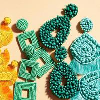 Dvacaman Boho Ethnische Große Quaste Fringe Ohrringe 2019 Handmade Big Beads Statement Ohrringe Partei baumeln Tropfen-Geschenk-Großverkauf