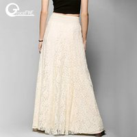 white cotton long lace skirt Summer Beach Wedding Skirt Retr...