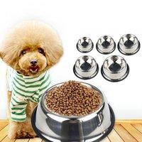 No-Kayma Pet Paslanmaz çelik Gıda Çanaklar Su Pet Köpek Bulaşık Besleyici mal İçme Kediler Köpekler Deji skid