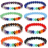 1 stücke Reiki Stein YOGA 7 Chakra Healing Balance Perlen Buddha Kopf Stretch-Armband Flexible Schmuck