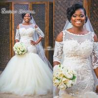 Robes de mariée d'ivoire de style africain 2021 Dentelle nigériane Applique Plus Taille Taille Numéros Holle Handes De Mariée De Mariée Robe De Mariée Robe de Mariée