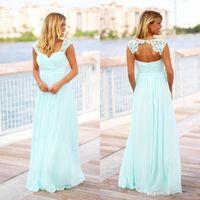 저렴한 민트 녹색 긴 비치 들러리 드레스 컨트리 스타일 바닥 길이 등이없는 임신 하녀 명예 드레스 출산 BC1480