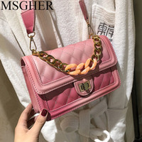 MSGHER  Designer Women's Lock Small Square Bag 2019 Spring Candy Color Bags Fashion Chain Shoulder Bag Messenger