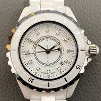 Top Fabrik Womens Lady Herren Weiß Schwarz Keramik 38mm Uhren Hohe Qualität JPAN Quarz Armbanduhren Für Frauenuhr 612