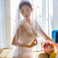 New alta qualidade Fashion Designer elegante Comprimento Edge frisada Branco Marfim Champanhe preto pulso duas camadas pente Bridal Veil Alloy