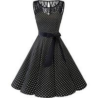 Плюс размер 5XL лето Женщины Midi платье готическая горошек печати рукавов дамы кружева платья Vintage вечернее платье Одежда