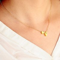 Fashion Tiny Dainty Heart Initial Necklace Personalized Lett...