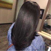 Sedoso brasileño de la Virgen del pelo humano del cordón lleno con Thin Skin peluca de mujer Negro envío