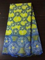 5 Yds / pc Nouveau tissu de coton africain africain de mode avec la conception de fleur bleue dentelle suisse de voile pour les vêtements BC150-3